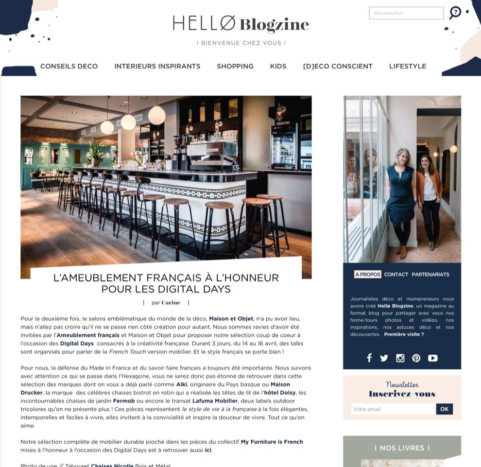 Chaises nicolle Sélectionnées par Hello Blogzine et My furniture is french durant les digital days de Maison et Objet