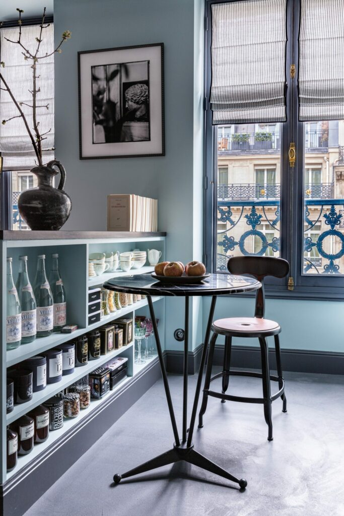 Side table and side chair in an parisien apartment by marianne Evennou